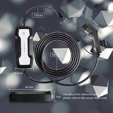 Morec Tragbares EV Ladekabel | Typ1 | 10/16 A | 3,6 kW | 7,5 m | US Standard Schaltbare LadeboxSchuko Ladegerät SAE J1772 Elektroauto EVSE (Euro-Stecker)