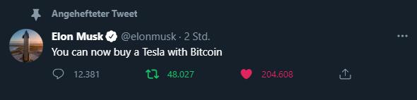 Elon Musk tweet Bitcoin Tesla